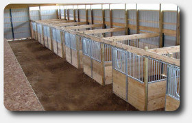 horse stalls with center aisle
