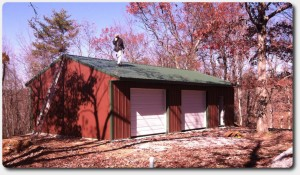 30x40x10 custom garages with red siding