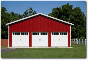 34x32x12 barn red steel siding