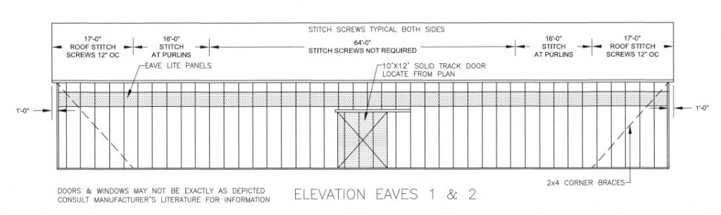 indoor riding arena eave elevation