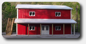 Two Story Pole Barn Home With Porch